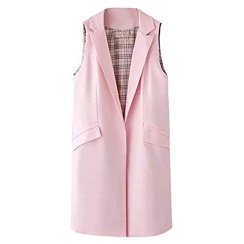 Highdas Donne lungo della maglia del cappotto di modo di stile del panciotto senza maniche Outwear Casual Top Pink-2