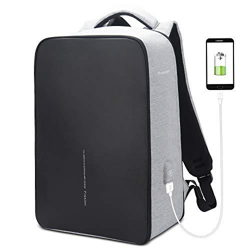 Fresion Notebook-Rucksäcke Laptop Rucksack für Herren Damen Arbeit, Business Reiserucksack mit 2.0 USB Port, Stylischer Rucksack Backpack bis zu 15,6 Zoll Laptops, Nylon Reißverschluss, Grau