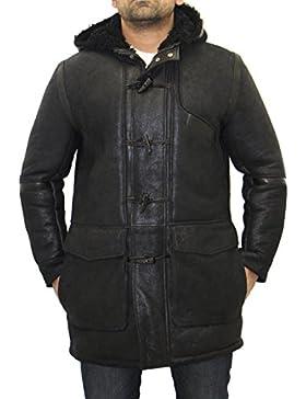 Mans Vintage Negro con Negro Real Sheepskin Classic Capucha con capucha abrigo Duffle