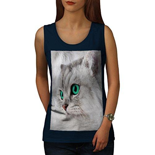 Haustier Niedlich Kätzchen pelzig Katze Katze Gesicht Damen S-2XL  Muskelshirt | Wellcoda Marine