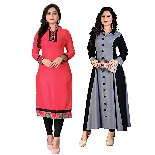 Pramukh Fashion Women's Cotton Semi-Stitched Kurti(1002.grey baby_Multicolour_46) - Pack of 2
