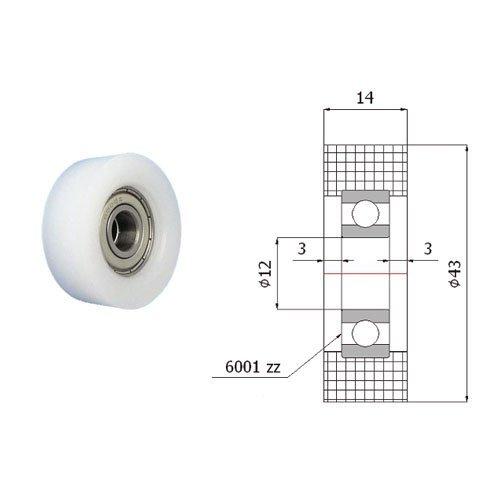 Zabi Einfache Kunststoff-Rollen Nylon mit Kugellager Ø 43mm
