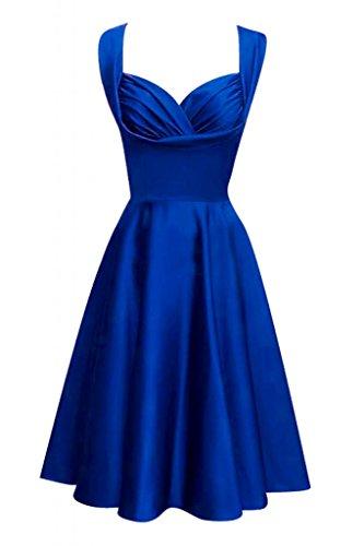 TOSKANA BRAUT Chic Zwei-Traeger Abendkleider Brautjungfern Kurz Satin Cocktail Party Abiballkleider Royal Blau