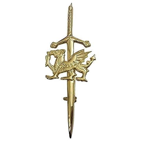 New Celtic Welsh Dragon Kilt Pin Gold Plated 4
