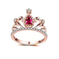 MSYOU Alloy Ring Rhinestone Red Zircon Creative Crown Shape Noble Ring Jewellery Gifts for Ladies Women Girls 18.9MM(Rose Gold)