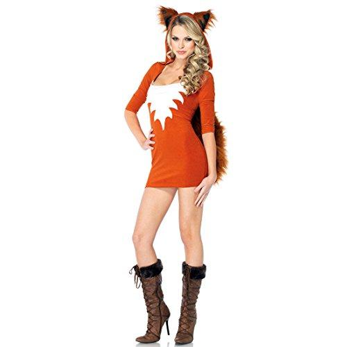 JTENGYAO Damen Katzenfrau Kleid Halloween Party Kapuze Mit Schwanz Kostüm Weihnachten Fuchs