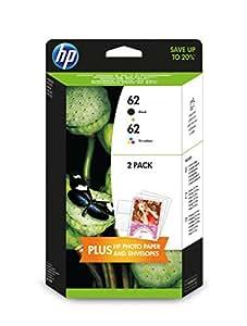 HP 62 Pack de 2 Cartouches d'Encre Noire et Trois Couleurs (Cartouche Cyan, Magenta, Jaune) Authentiques (J3M80AE)