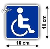 """Sticker Autocollant """" Handicap Carré """" ... Ce sticker s'applique sur toute surface lisse et propre (lunette arrière, vitres, carrosserie, etc...) - Résistant aux UV, aux intempéries et aux lavages. Dimension: Largeur 10 cm / Hauteur 10 cm. Sticker de..."""