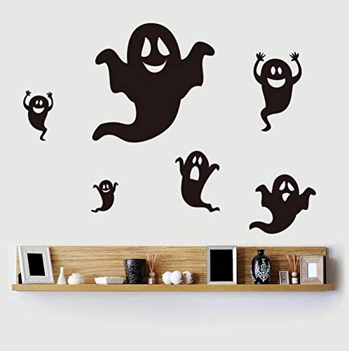 (Yzybz Hot Newest Funny 6 Pieces Black Ghost Home Decor Wall Stickers Party Kids Room Diy Decoration Sticker)