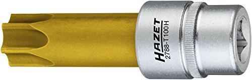 Hazet Nockenwellen-Versteller Schraubendreher-Einsatz mit Bohrung 2788-T100H ∙ Vierkant 12,5 mm (1/2 Zoll) ∙ Tamper Resistant TORX Profil ∙ Schlüsselweite: T 100 H, tin beschichtet
