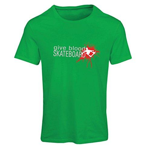 Frauen T-Shirt Gib Blut Skateboard! - lustige Skateboard Zitate, Pro Skater (X-Large Grün Mehrfarben)