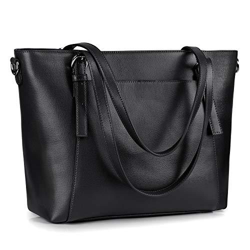 S-ZONE Damen Handtasche aus echtem Leder, groß, (Schwarz 1), Large