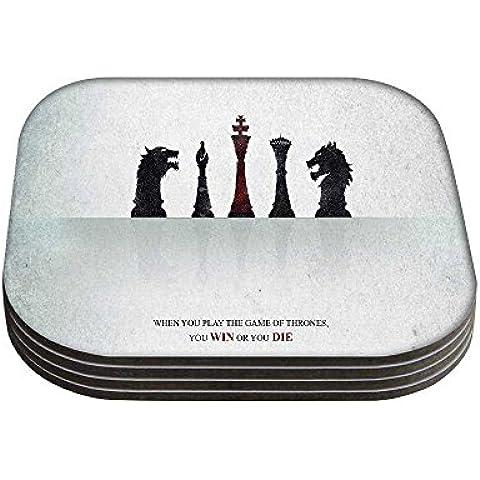 Snoogg Ajedrez Amazing cita Pack de 4posavasos mesa cuadrada/mesa y juego de accesorios de cocina para bebidas Juego de 4posavasos cuadrados hecho a mano de madera