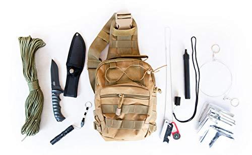 Coobera Bug Out Bag Premium Notfall-Survival Kit - Notfall-Essentials Taktische Sling Bag Molle Rucksack mit Notfall-Survival Kit 1 Person Ausrüstung für Auto Erdbeben Angeln Wandern, Coyote Tan