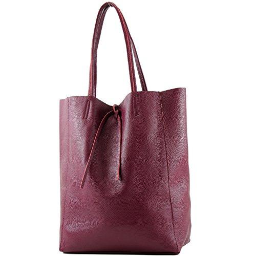 modamoda de - T163 - Ital. Shopper mit Innentasche aus Leder, Farbe:Bordeauxrot -