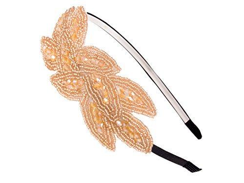 Alilang Light Gold Beaded Floral Leaf Bunch Retro Flapper Fashion Elastic Hair Headband