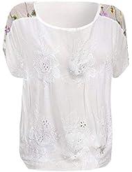 Honestyi_Camiseta para mujer Camisa Manga Corta O-Cuello Blusas y Camisas Costura Bordado Calado Verano Tallas Grandes Elástico Tops Elegante Polos A1