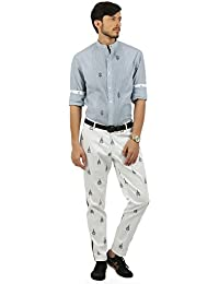House of Three Men's Straight Cotton Casual Trousers