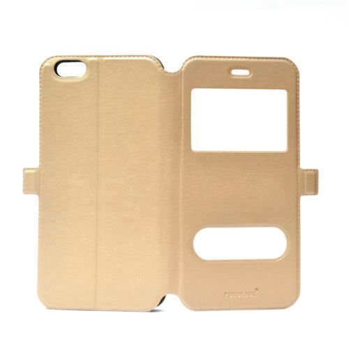 Fonokase Case for Apple iPhone 6 Plus & 6S Plus Flip Type Caller ID View Gold