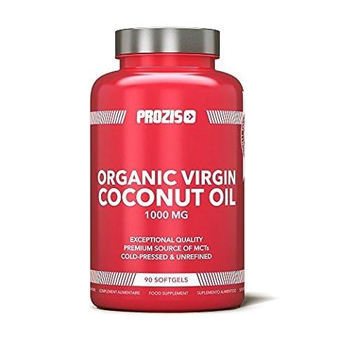 Prozis Bio-Kokosnussöl 1000mg pro Kapsel - Gesundheit & Energie-Booster - Ergänznunsgmittel für Gewichtsverlust & Fatburner - Kaltgepresst und Unraffiniert - 90
