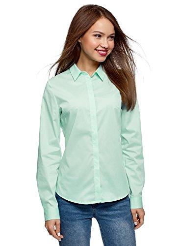 oodji Ultra Damen Tailliertes Hemd Basic, Grün, DE, gebraucht gebraucht kaufen  Wird an jeden Ort in Deutschland