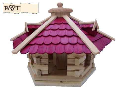 Vogelhaus, XXL Vogelvilla Vöglehus groß aus Holz Vogelvilla Holz mit ROT mit Ständer SG50roMS Holzschindel - 2