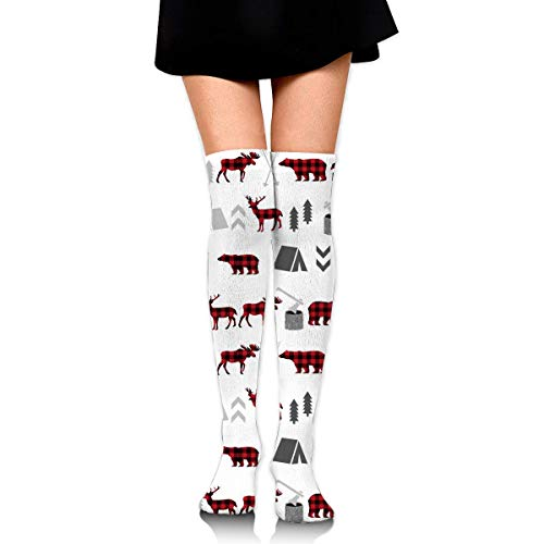 HiExotic Strümpfe Breathable Extra Long Cotton Mid Thigh High Buffalo Plaid Woodland Moose Exotic Psychedelic Print Compression High Tube Thigh Boot Stockings Knee High Women Girl -
