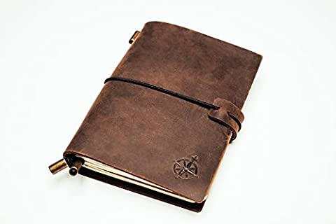 Wanderings Pocket Leather Notebook Journal - Refillable, Perfect for Writing,