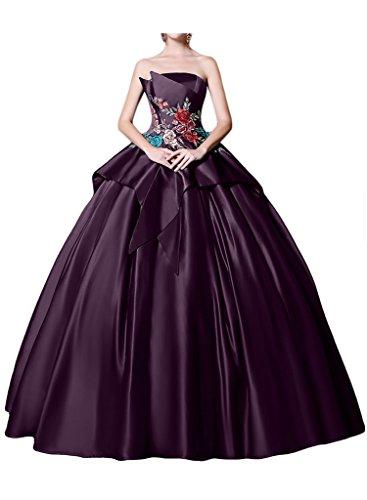 Promgirl House Damen Elegant Empire Traegerlos Ballkleider Tanzenkleider Hochzeitskleider Spitze Bodenlang Traubelila