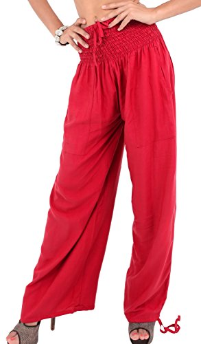 La Leela leichte glatt sanft Rayon Normalform Kordelzug Lounge Pyjama Nachtzeug Frauen Strand entspannt tragen fit Tunnelzug Hose Bikinibadebekleidung der Damen verschleiern entspannt rosa Ethnischen Rot