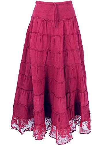 Guru-Shop, Gonna Hippie, Gonna a Zampa Boho con Pizzo, Maxi Gonna Convertibile Hippie Chic, Gonna Flamenco, Abito Estivo, Bordeaux, Cotone, Dimensione Indumenti:S / M (38), Gonne Lunghe