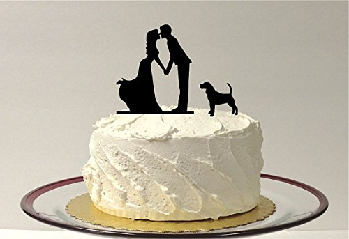 Silhouette of couple kissing figures for wedding cake with dog pet 3 family decoration for cake for wedding bride and groom decoration for cake for
