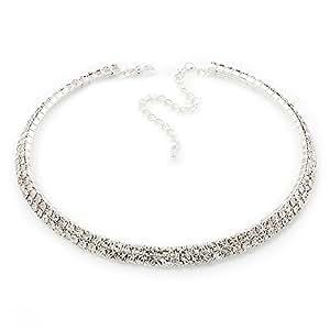 2-Row Swarovski Crystal Choker Necklace (Silver Plated)