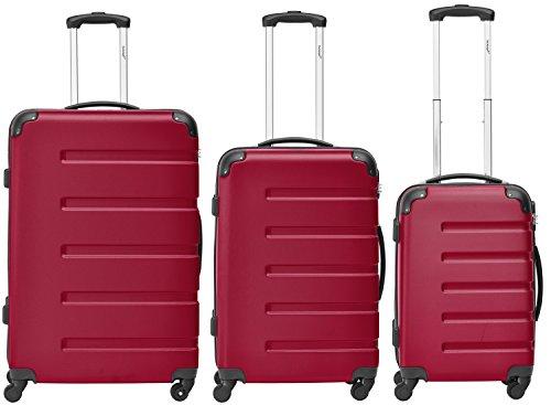Packenger Kofferset - Marina - 3-teilig (M, L & XL), Rot, 4 Rollen, Koffer mit Zahlenschloss, Hartschalenkoffer (ABS) robuster Trolley Reisekoffer
