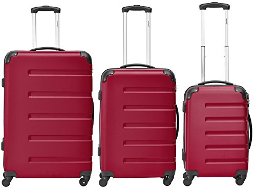 Packenger 3er Koffer-Set 'Marina' Trolley-Set Hartschale (M, L & XL) in Rot / 4 Gummi Rollen (360°) / Koffer mit Zahlenschloss / stabiler eleganter Alltags...