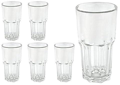 6 Longdrinkbecher GRANITY, 46 cl, Eichmarke bei 4 cl, Saftglas, Wasserglas, Trinkglas,Gastronomie