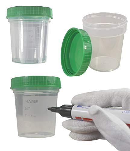 25x Urinprobebecher 125ml mit grünem Schraubdeckel