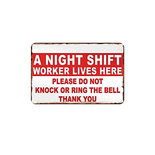 PotteLove A Night Shift Worker Lives Here Vintage Metal Tin Signs Plaque Wall Advertising Poster for Cafe Bar Pub Beer Patio Garage Office Outdoor Room Hotel Home Decoration -