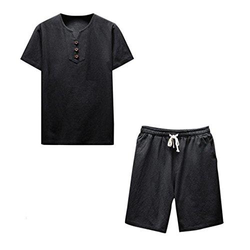 Ensemble Homme été, T-Shirt Pantalon À Manches Courtes Lin Confortable Blouse Malloom