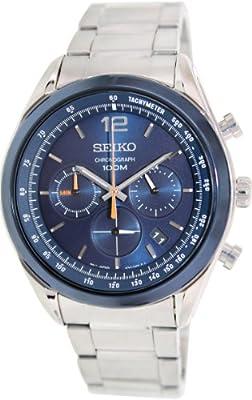 Seiko SSB091P1 - Reloj de cuarzo para hombre, con correa de acero inoxidable, color plateado