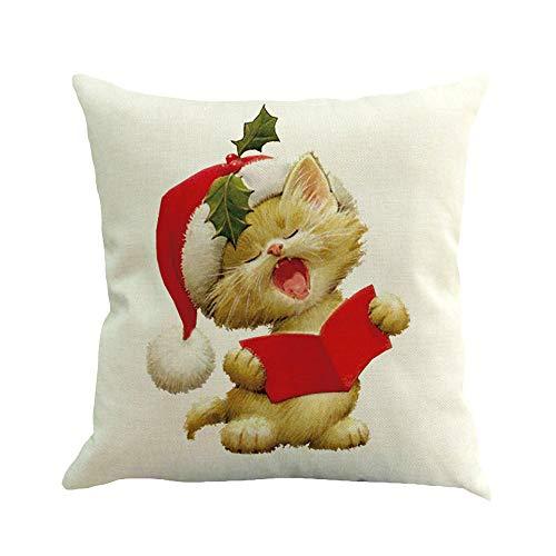 Goosuny Weihnachts Dekoration 45X45cm Komfortable Kissenbezug Leinen Couchkissen Kissenhülle Schneemann Print Deko Für Sofa Auto Innenraum Draußen Gartenstühle Weihnachten(A,1 PC)