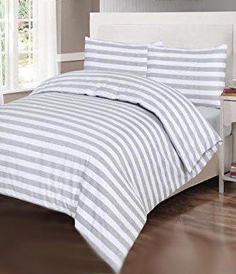 100% Baumwolle Luxus Bettbezug Set grau gestreift, Bettbezug mit 2 Kissenbezügen, Graue Streifen, King Size (220 x 230 cm) -