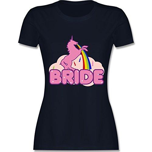 Shirtracer JGA Junggesellinnenabschied - JGA Bride Einhorn - Damen T-Shirt Rundhals Navy Blau