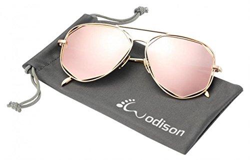 WODISON Metallrahmen polarisierte Reflex verspiegelten Sonnenbrillen für Frauen (Rose Gold)