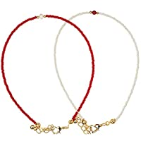 Alwan-Accessories Gold Plated Set of 2 Long Size Anklets for Women - EE3419FDRWL