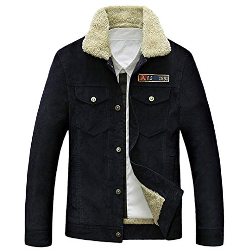 Karmder Winter Fleece Dicke warme Windbreaker Cord Herren Casual Baumwolle Militärjacke Dark Blue XL Cord Quilted Coat