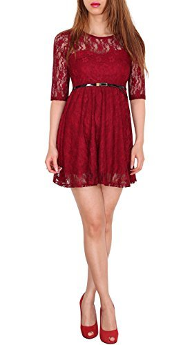 SODACODA Robe 3/4-bras dames princesse dentelle mignon robe de soirée de bal d'étudiants mini robe - Toutes les couleurs et tailles (SL) vin rouge