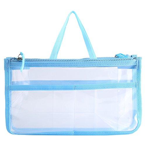 Klare Kosmetiktasche Transparente Reise Verschiedene Tasche Wasserdicht Toiletry Organizer Zipper Make up Aufbewahrungstasche mit Tragegriffen Kompakte Größe(Blau)