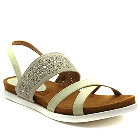 DW172 Divinas Barcelona Sandal Flat for Ladies in Off White Punched Detailing Taille 38