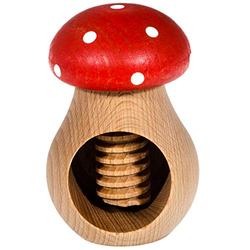 SIDCO Nussknacker Pilz Nussschraube Fliegenpilz Nussbrecher Schraubgewinde Holz rot